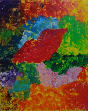 Kiss, acrylique + gel, 80 x 100 cm, 2015, CHF 820