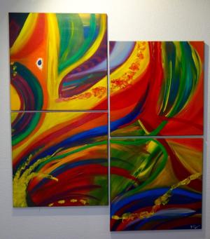 L'oeil du perroquet, acrylique + gel, 60 x 60 cm (4), 2015,CHF 1200