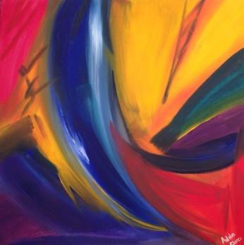 Le saut, acrylique, 70 x 70 cm, 2015, CHF 620